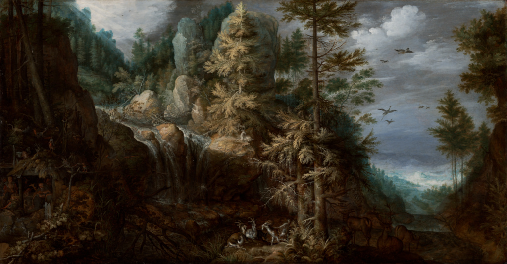 Landscape with the Temptation of Saint Anthony; Roelandt Savery (Flemish, 1576 - 1639); Netherlands; 1617; Oil on panel; 48.7 × 94 cm (19 3/16 × 37 in.); 2008.73; The J. Paul Getty Museum, Los Angeles; Rights Statement: No Copyright - United States