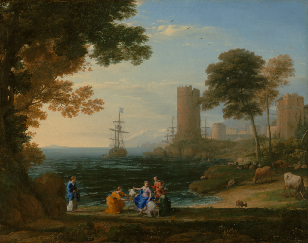 Coast View with the Abduction of Europa; Claude Lorrain (Claude Gellée) (French, 1604/1605? - 1682); Rome, Italy; 1645 ?; Oil on canvas; 96.2 × 167.6 cm (37 7/8 × 66 in.); 2007.32; The J. Paul Getty Museum, Los Angeles; Rights Statement: No Copyright - United States