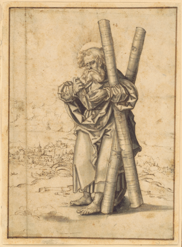 Saint Andrew; Master H.B. (German, active early 16th century); Germany; about 1530; Pen and brown ink and gray wash; 21.1 × 15.5 cm (8 5/16 × 6 1/8 in.); 2007.22; The J. Paul Getty Museum, Los Angeles; Rights Statement: No Copyright - United States