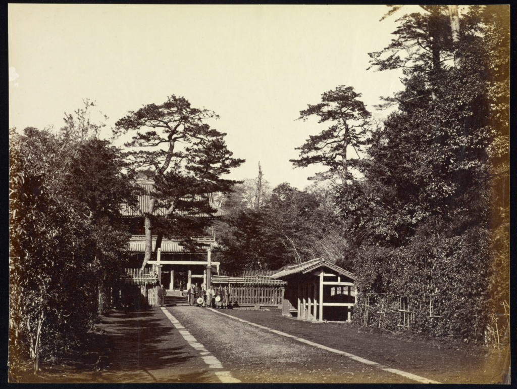 Entrance to the British Legislation, Yedo; Felice Beato (English, born Italy, 1832 - 1909); Yedo, Japan; 1863–1868; Albumen silver print; 22.2 × 29.3 cm (8 3/4 × 11 9/16 in.); 2007.26.45; The J. Paul Getty Museum, Los Angeles, Partial gift from the Wilson Centre for Photography; Rights Statement: No Copyright - United States