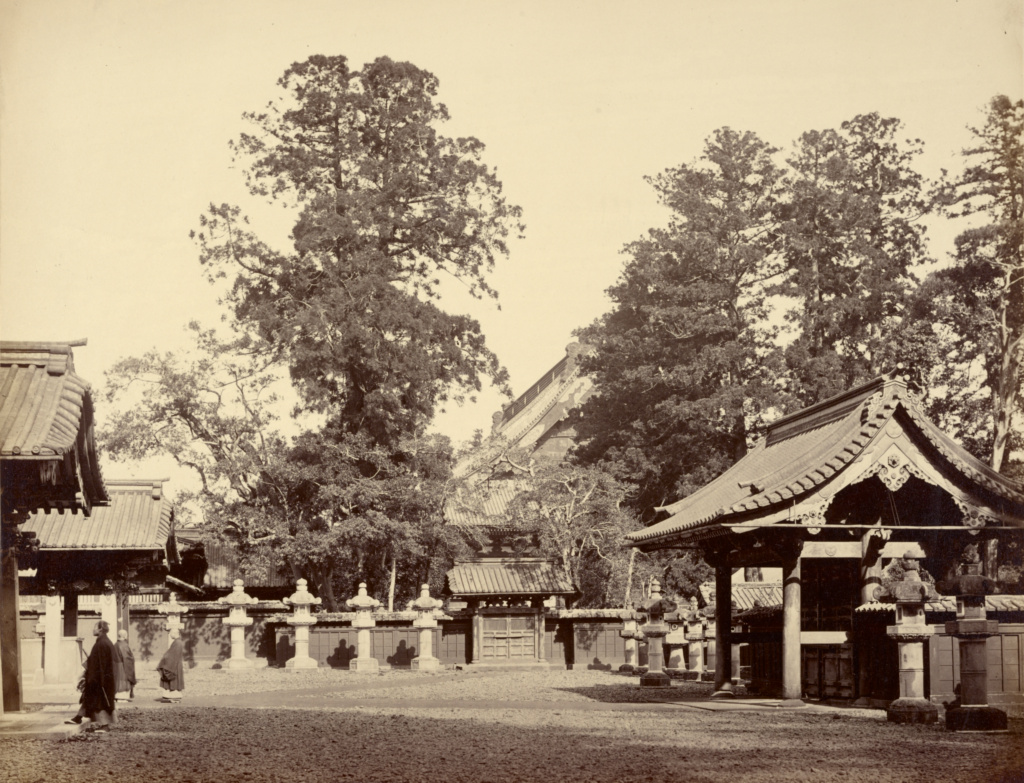 [Temple at Shiba]; Felice Beato (English, born Italy, 1832 - 1909); Shiba, Japan; 1863–1877; Albumen silver print; 22.1 × 28.7 cm (8 11/16 × 11 5/16 in.); 2007.26.161; The J. Paul Getty Museum, Los Angeles, Partial gift from the Wilson Centre for Photography; Rights Statement: No Copyright - United States