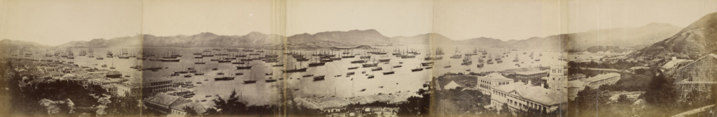 [Panorama of Hong Kong, showing the Fleet for North China Expedition]; Felice Beato (English, born Italy, 1832 - 1909), Henry Hering (British, 1814 - 1893); Hong Kong, China; March 1, 1860; Albumen silver print; Other: 23.7 × 28.3 cm (9 5/16 × 11 1/8 in.); 2007.26.198.1; The J. Paul Getty Museum, Los Angeles, Partial gift from the Wilson Centre for Photography; Rights Statement: No Copyright - United States