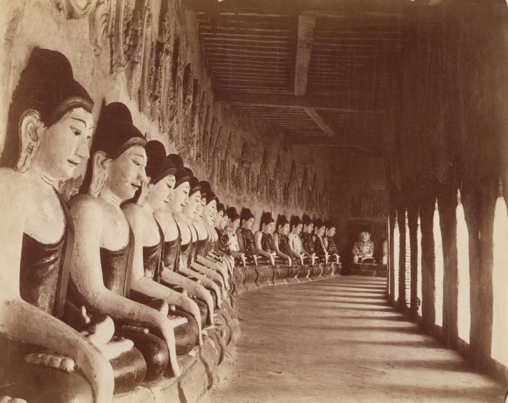 The Forty-nine Gautamas in the Sagaing Temple; Felice Beato (English, born Italy, 1832 - 1909); 1887–1895; Albumen silver print; 19.1 × 24.4 cm (7 1/2 × 9 5/8 in.); 2007.26.202.11; Partial gift from the Wilson Centre for Photography; Rights Statement: No Copyright - United States
