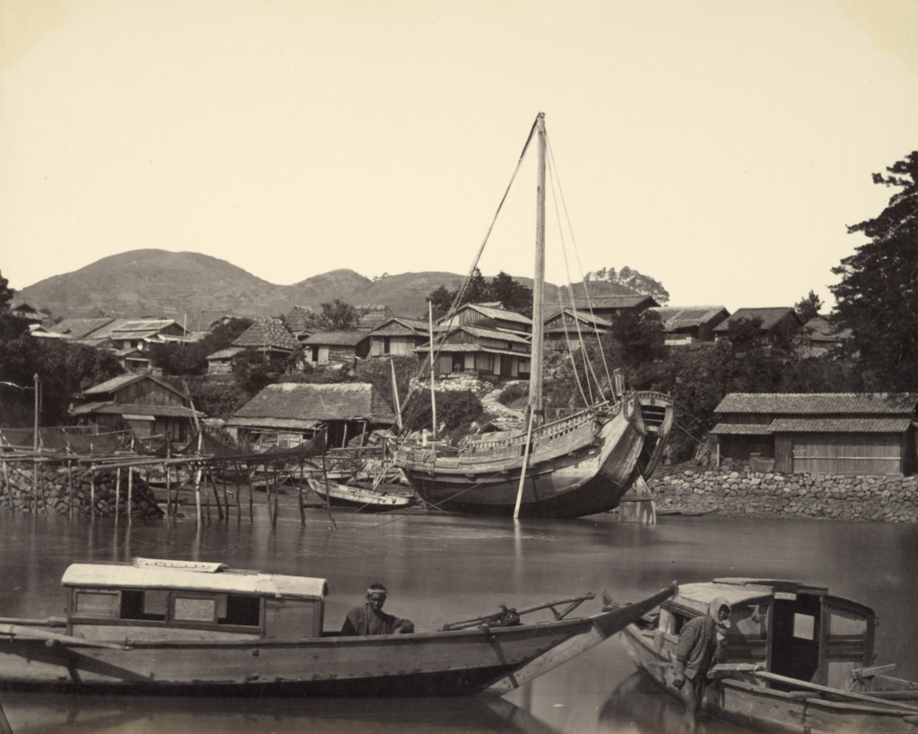 [Boats in River, Nagasaki]; Felice Beato (English, born Italy, 1832 - 1909); Nagasaki, Japan; about 1865; Albumen silver print; 22.8 × 28.5 cm (9 × 11 1/4 in.); 2007.26.207.3; The J. Paul Getty Museum, Los Angeles, Partial gift from the Wilson Centre for Photography; Rights Statement: No Copyright - United States