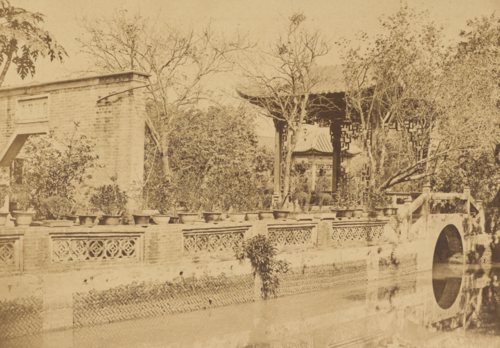 Howqua's Gardens,  Canton; Felice Beato (English, born Italy, 1832 - 1909); Canton, China; August–October 1860; Albumen silver print; 14.4 × 21.1 cm (5 11/16 × 8 5/16 in.); 2007.26.209.2; The J. Paul Getty Museum, Los Angeles, Partial gift from the Wilson Centre for Photography; Rights Statement: No Copyright - United States