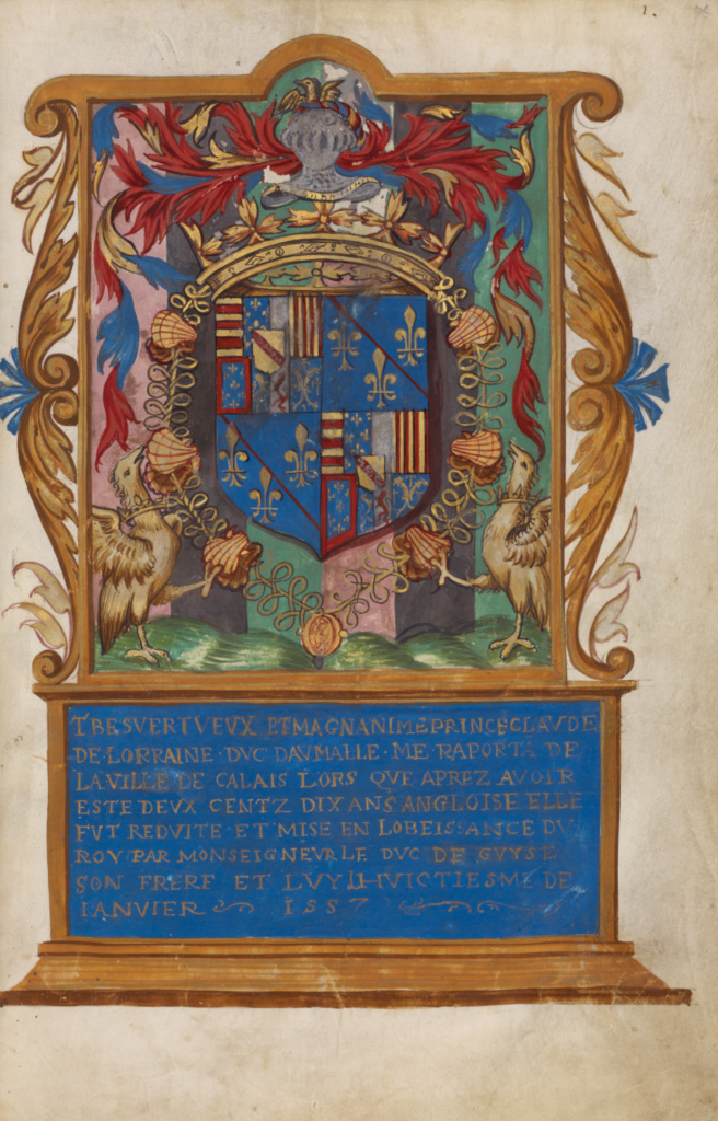 Frontispiece with Coat of Arms of Claude de Lorraine, Duc d'Aumale; Unknown; Paris, France; about 1557; Tempera colors; Leaf: 29.1 × 19.1 cm (11 7/16 × 7 1/2 in.); Ms. Ludwig XIII 4 (83.MP.147), fol. 1; The J. Paul Getty Museum, Los Angeles, Ms. Ludwig XIII 4, fol. 1; Rights Statement: No Copyright - United States