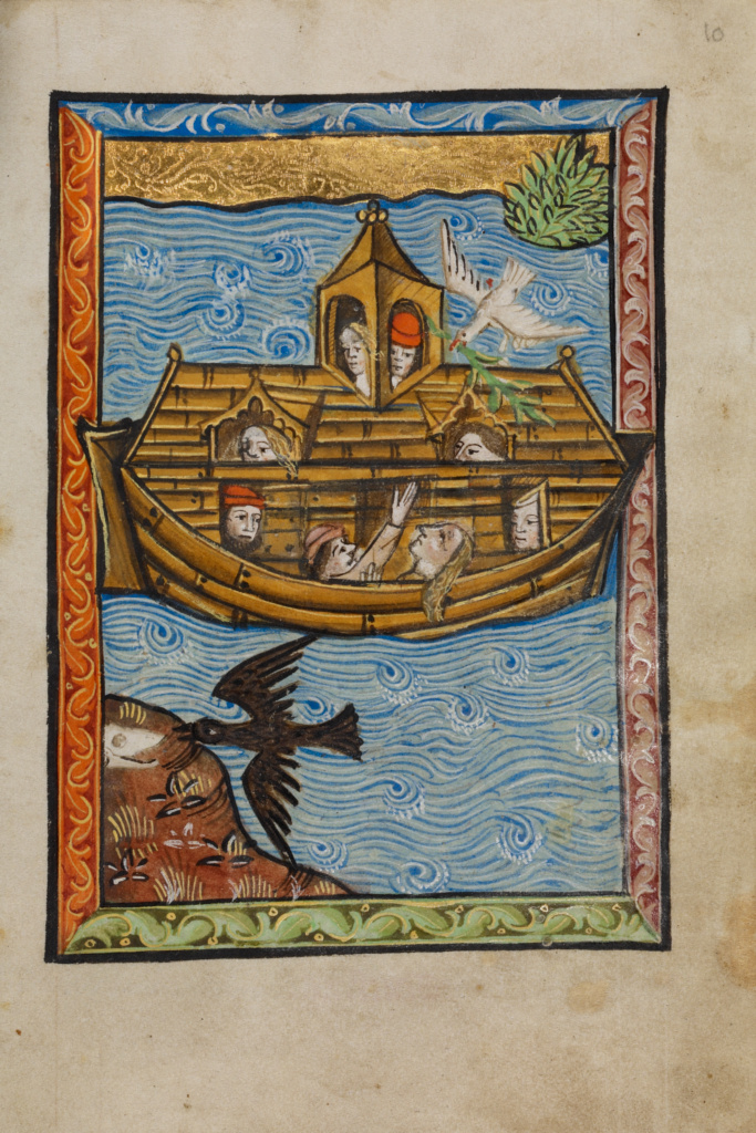Noah's Ark; Unknown; Norfolk [perhaps] (written), East Anglia, England; about 1480–1490; Tempera colors and gold leaf; Leaf: 11.9 × 17 cm (4 11/16 × 6 11/16 in.); Ms. 101 (2008.3), fol. 10; The J. Paul Getty Museum, Los Angeles, Ms. 101, fol. 10; Rights Statement: No Copyright - United States