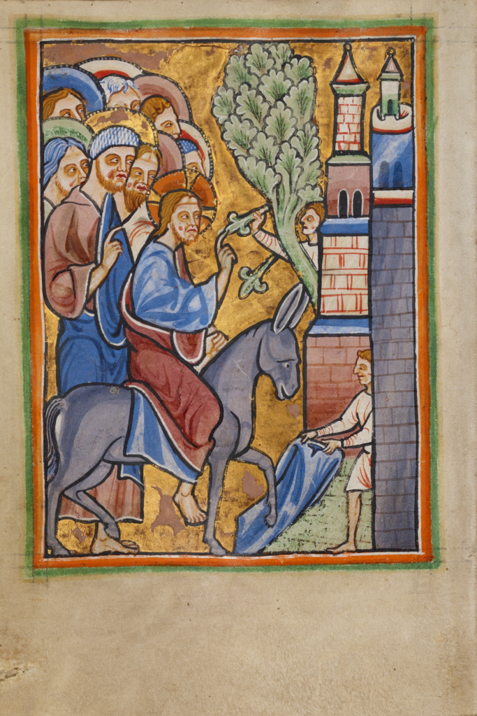 The Entry into Jerusalem; Unknown; about 1190–1200; Tempera colors and gold leaf on parchment; Leaf: 11.9 × 17 cm (4 11/16 × 6 11/16 in.); Ms. 101 (2008.3), fol. 62v; Rights Statement: No Copyright - United States