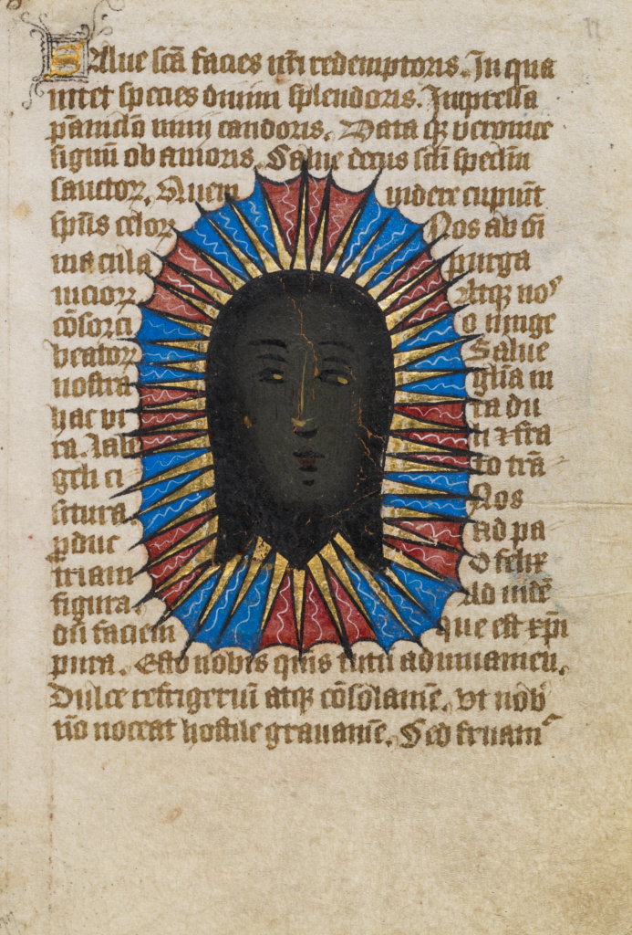 The Holy Face; Unknown; Norfolk [perhaps] (written), East Anglia, England; about 1480–1490; Tempera colors and gold leaf; Leaf: 11.9 × 17 cm (4 11/16 × 6 11/16 in.); Ms. 101 (2008.3), fol. 77; The J. Paul Getty Museum, Los Angeles, Ms. 101, fol. 77; Rights Statement: No Copyright - United States