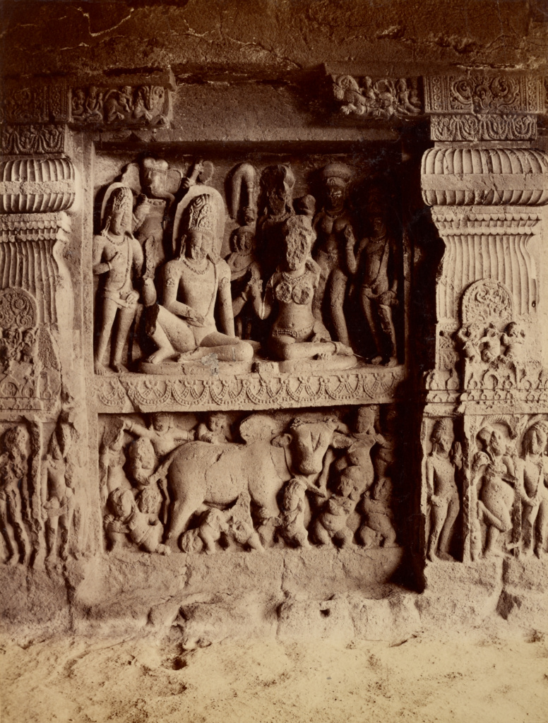 Figures in Ellora Caves; Lala Deen Dayal (Indian, 1844 - 1905); Ellora Caves, Aurangabad, Maharashtra, India; December 1887–February 1888; Albumen silver print; 25.9 × 20.2 cm (10 3/16 × 7 15/16 in.); 2008.78.63; The J. Paul Getty Museum, Los Angeles, Gift in memory of Marie McNabola and Irene Peters; Rights Statement: No Copyright - United States