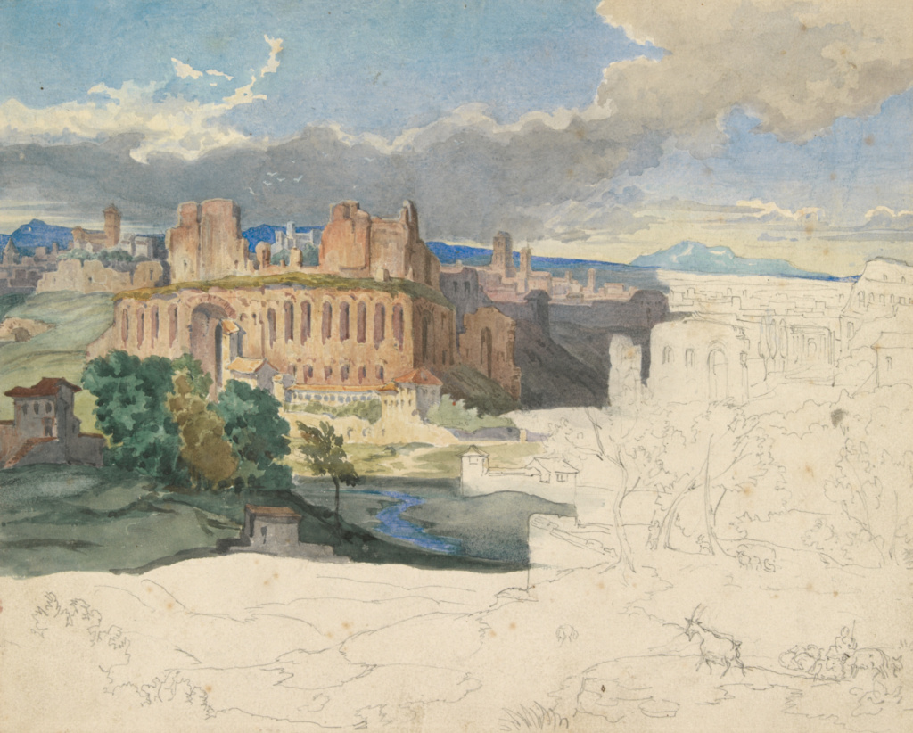The Ruins of the Imperial Palaces in Rome; Carl Rottmann (German, 1797 - 1850); Germany; about 1831; Graphite and watercolor with touches of white gouache; 23.5 × 29.2 cm (9 1/4 × 11 1/2 in.); 2009.12; The J. Paul Getty Museum, Los Angeles; Rights Statement: No Copyright - United States