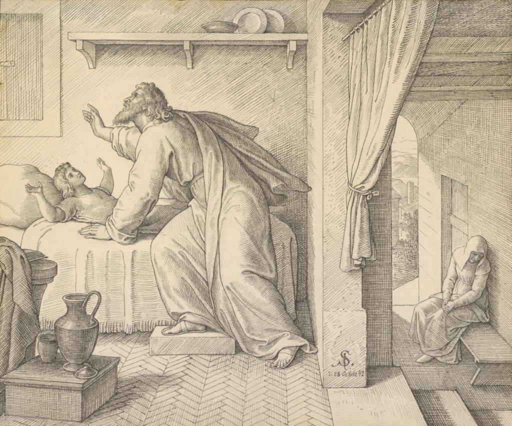 Elijah Revives the Son of the Widow of Zarephath; Julius Schnorr von Carolsfeld (German, 1794 - 1872); Germany; 1842; Black ink; 21.7 × 26.1 cm (8 9/16 × 10 1/4 in.); 2009.13; The J. Paul Getty Museum, Los Angeles; Rights Statement: No Copyright - United States