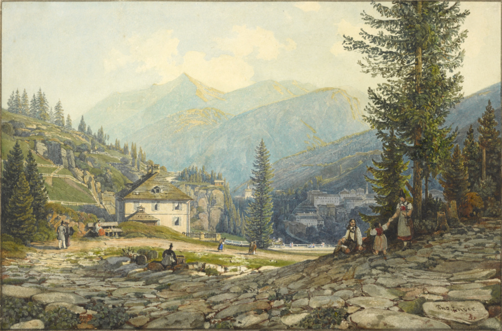 View of the Residence of Archduke Johann in Gastein Hot Springs; Thomas Ender (Austrian, 1793 - 1875); Austria; about 1829–1832; Watercolor over graphite; 19 × 28.5 cm (7 1/2 × 11 1/4 in.); 2009.30; The J. Paul Getty Museum, Los Angeles; Rights Statement: No Copyright - United States