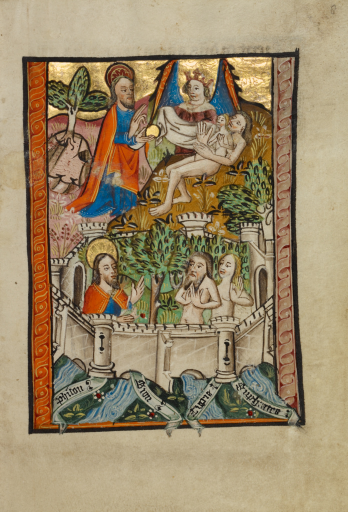 The Garden of Eden; Unknown; Norfolk [perhaps] (written), East Anglia, England; about 1480–1490; Tempera colors and gold leaf on parchment; Leaf: 11.9 × 17 cm (4 11/16 × 6 11/16 in.); Ms. 101 (2008.3), fol. 8; The J. Paul Getty Museum, Los Angeles, Ms. 101, fol. 8; Rights Statement: No Copyright - United States
