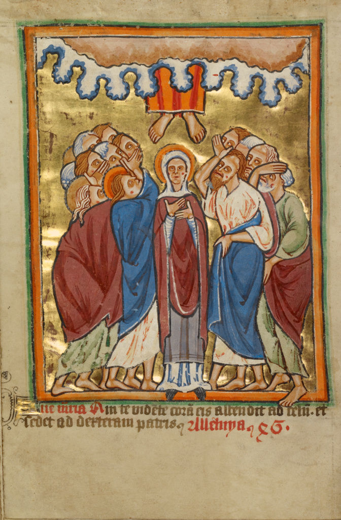 The Ascension; Unknown; York [perhaps] (illuminated), Northern, England; about 1190–1200; text added about 1480–1490; Tempera colors and gold leaf; Leaf: 11.9 × 17 cm (4 11/16 × 6 11/16 in.); Ms. 101 (2008.3), fol. 90v; The J. Paul Getty Museum, Los Angeles, Ms. 101, fol. 90v; Rights Statement: No Copyright - United States