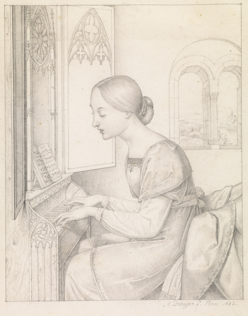 Saint Cecilia; Joseph Anton Draeger (German, 1794 - 1833); Italy; 1822; Graphite; 22.2 × 17.6 cm (8 3/4 × 6 15/16 in.); 2009.40; The J. Paul Getty Museum, Los Angeles; Rights Statement: No Copyright - United States
