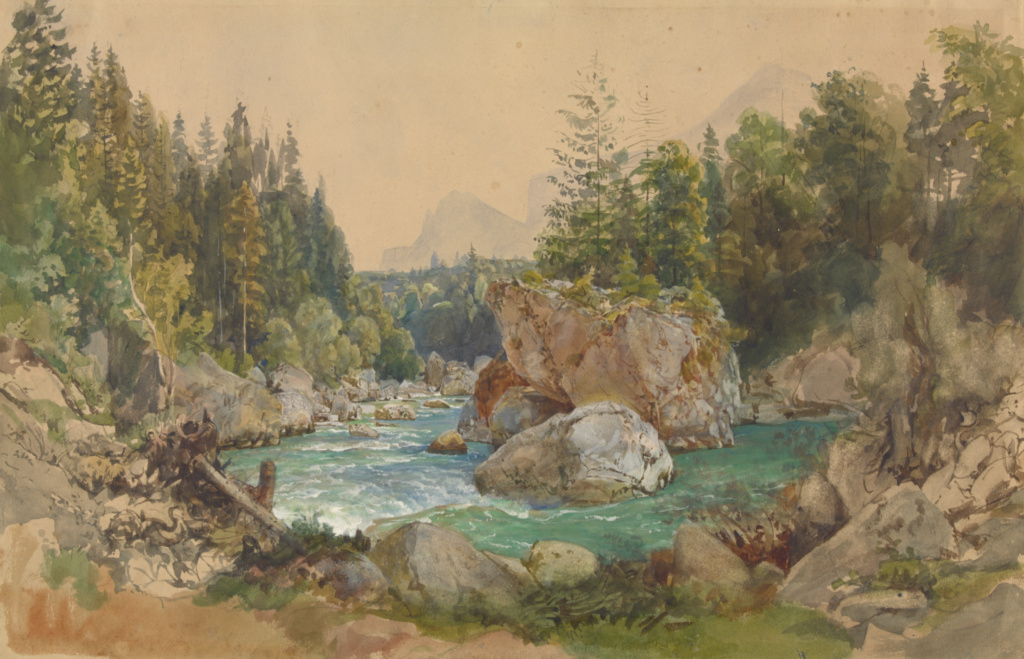 Wooded River Landscape in the Alps; Thomas Ender (Austrian, 1793 - 1875); Germany; about 1850–1870; Watercolor, gouache and graphite; 31 × 47.8 cm (12 3/16 × 18 13/16 in.); 2009.60; The J. Paul Getty Museum, Los Angeles; Rights Statement: No Copyright - United States