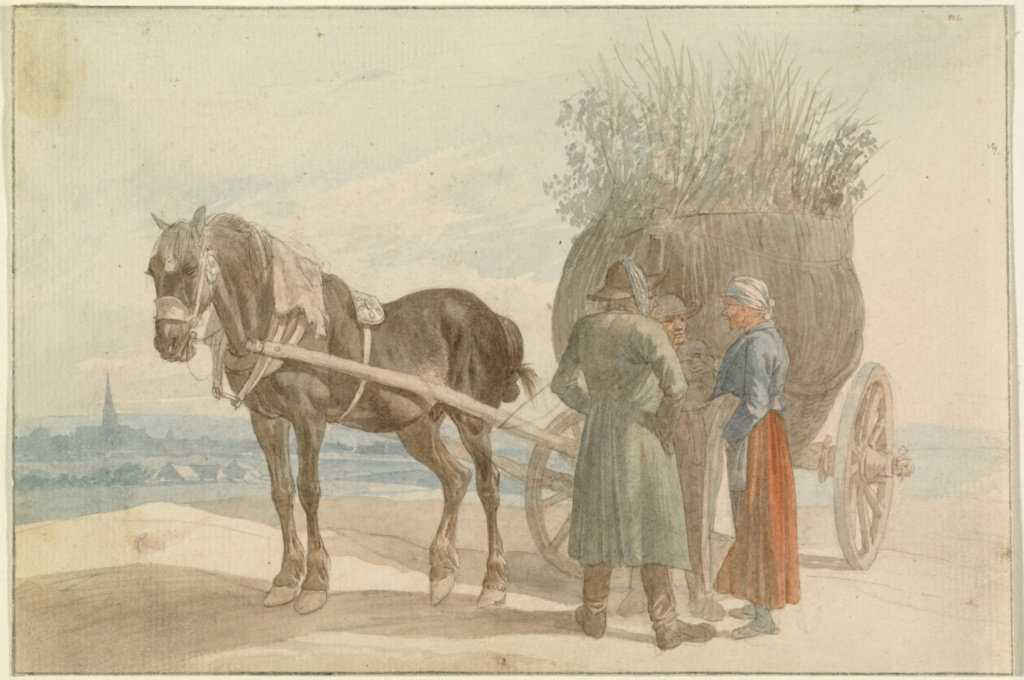 Austrian Peasants with a Horse and Cart, with a View of Vienna in the Distance; Johann Adam Klein (German, 1792 - 1875); Germany; 1816–1818; Watercolor over graphite (recto); graphite (verso); 13.5 × 20.1 cm (5 5/16 × 7 15/16 in.); 2009.66; The J. Paul Getty Museum, Los Angeles; Rights Statement: No Copyright - United States
