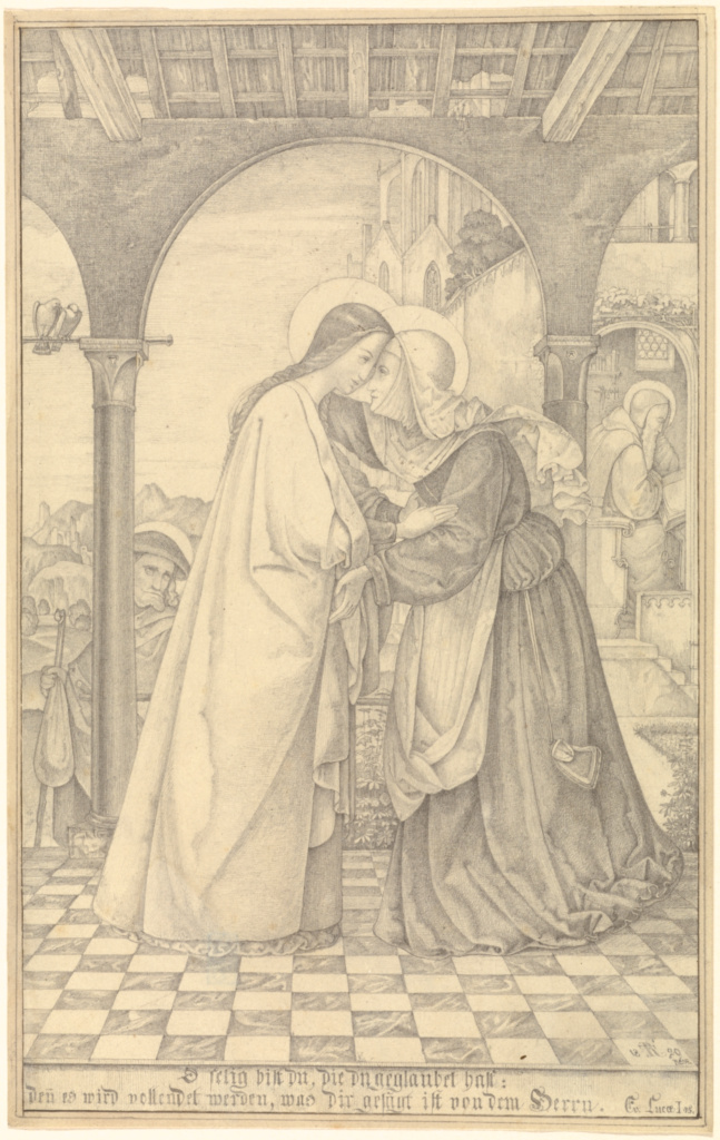 The Visitation; Theodor Rehbenitz (German, 1791 - 1861); Italy; 1820; Graphite; 22.4 × 14.1 cm (8 13/16 × 5 9/16 in.); 2009.70; The J. Paul Getty Museum, Los Angeles; Rights Statement: No Copyright - United States