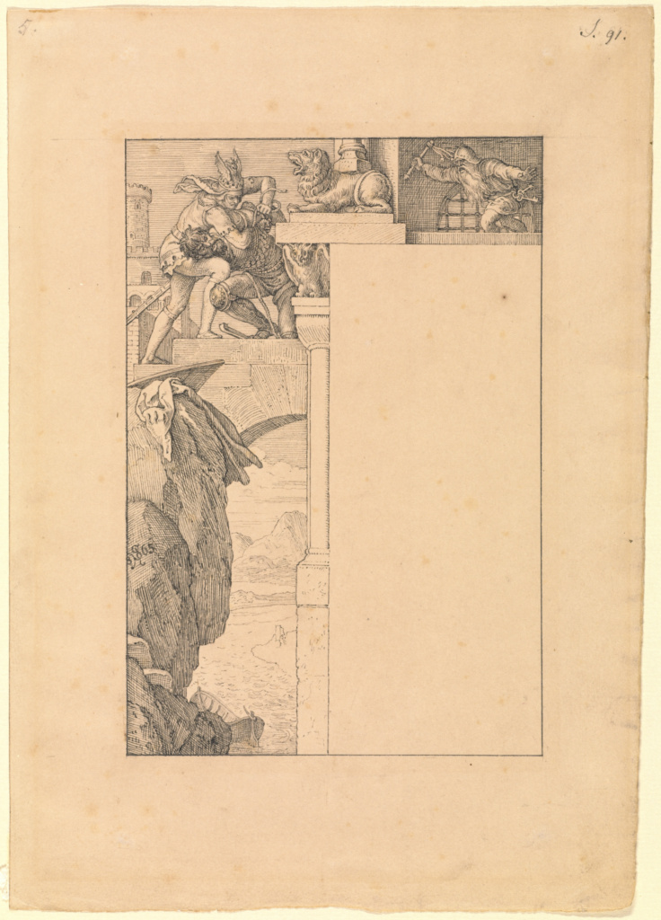 Siegfried Battles with the Gatekeeper as Alberich Approaches; Julius Schnorr von Carolsfeld (German, 1794 - 1872); Germany; 1865; Black ink and graphite on buff-colored paper; 20.1 × 13.5 cm (7 15/16 × 5 5/16 in.); 2009.72; The J. Paul Getty Museum, Los Angeles; Rights Statement: No Copyright - United States