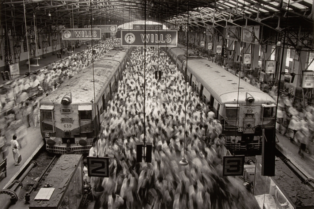 Church Gate Station, Western Railroad Line, Bombay, India; Sebastião Salgado (Brazilian, born 1944); France; negative 1995; print 2009; Gelatin silver print; 34.3 × 51.4 cm (13 1/2 × 20 1/4 in.); 2009.33.1; The J. Paul Getty Museum, Los Angeles; Rights Statement: In Copyright; Copyright: © Sebastião Salgado / Amazonas Images