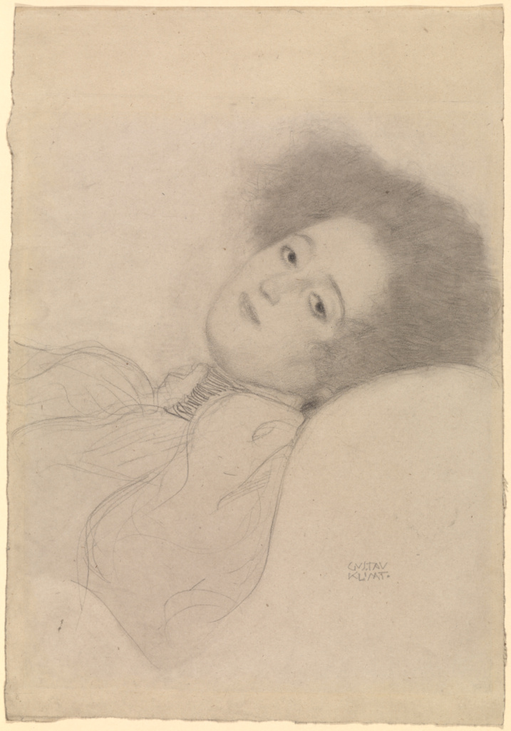 Portrait of a Young Woman Reclining; Gustav Klimt (Austrian, 1862 - 1918); Austria; 1897–1898; Black chalk; 45.5 × 31.5 cm (17 15/16 × 12 3/8 in.); 2009.57.1; The J. Paul Getty Museum, Los Angeles; Rights Statement: No Copyright - United States