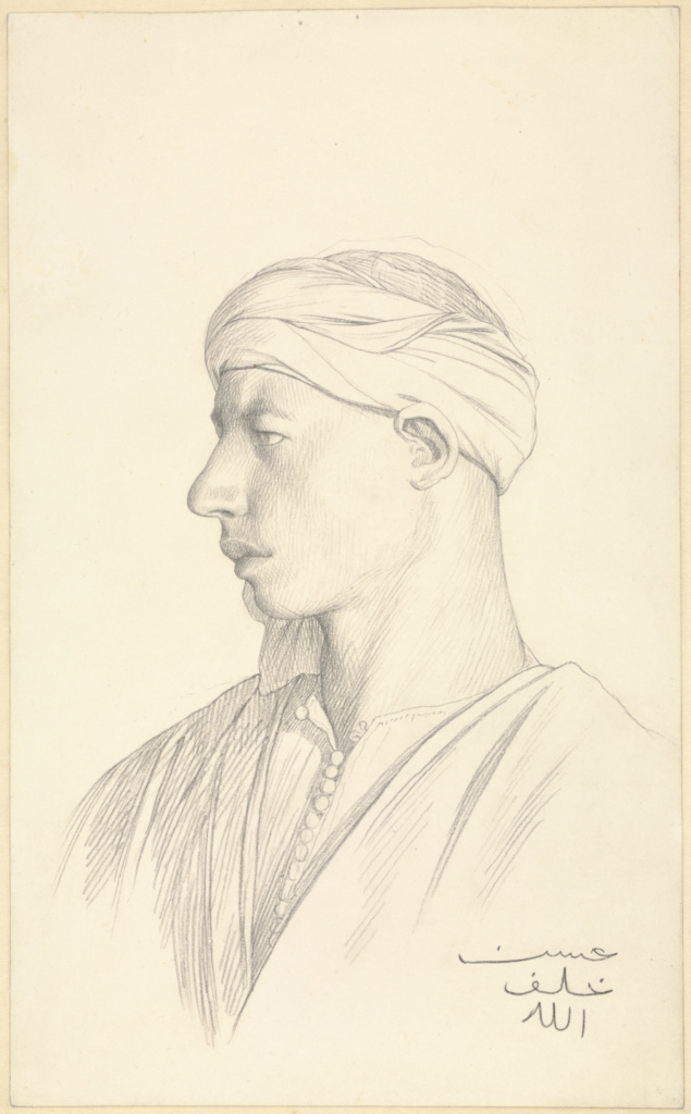 Portrait of an Egyptian Fellah; Jean-Léon Gérôme (French, 1824 - 1904); Egypt; about 1856; Black chalk; 26.7 × 16.2 cm (10 1/2 × 6 3/8 in.); 2010.16; The J. Paul Getty Museum, Los Angeles; Rights Statement: No Copyright - United States