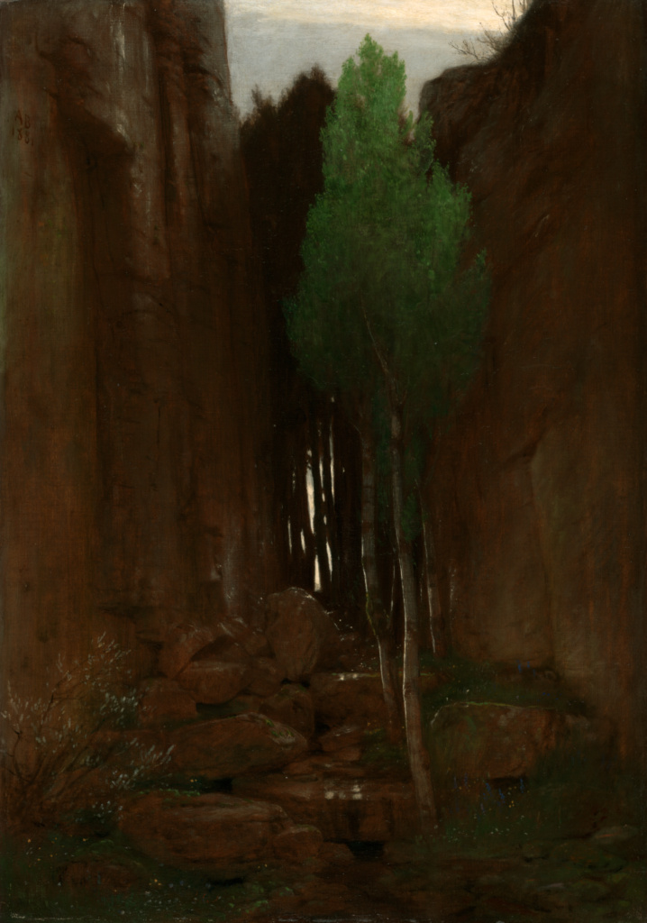 Spring in a Narrow Gorge (Quell in einer Felsschluct); Arnold Böcklin (Swiss, 1827 - 1901); Italy; 1881; Oil on canvas; 84.5 × 59.4 cm (33 1/4 × 23 3/8 in.); 2010.31; The J. Paul Getty Museum, Los Angeles; Rights Statement: No Copyright - United States