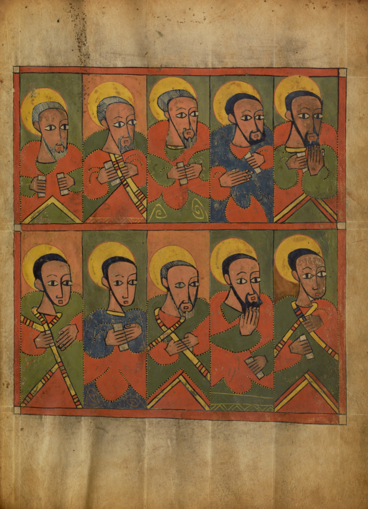 The Seventy-two Disciples; Unknown; Ethiopia; about 1480 - 1520; Tempera on parchment; Leaf: 34.5 × 25.6 cm (13 9/16 × 10 1/16 in.); Ms. 105 (2010.17), fol. 9; The J. Paul Getty Museum, Los Angeles, Ms. 105, fol. 9; Rights Statement: No Copyright - United States