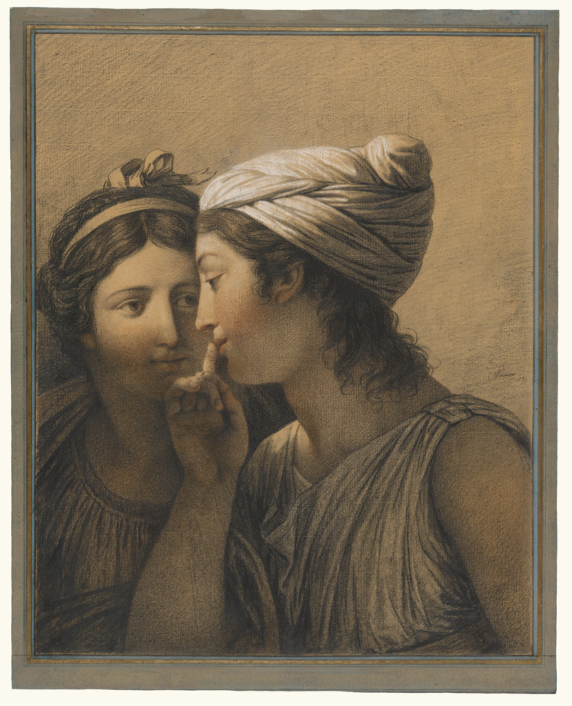 Le Secret (The Secret); François-André Vincent (French, 1746 - 1816); France; 1795; Black, red and white chalk and oiled or waxed charcoal or chalk (?); 49 × 39.5 cm (19 5/16 × 15 9/16 in.); 2010.32; The J. Paul Getty Museum, Los Angeles; Rights Statement: No Copyright - United States