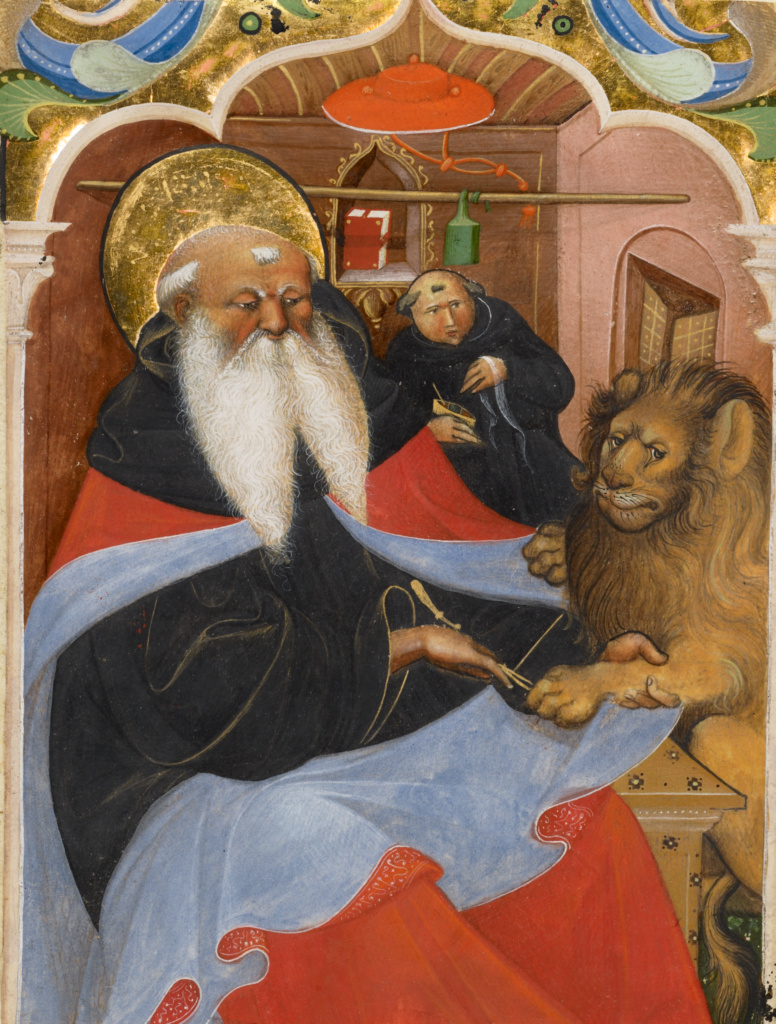 Saint Jerome Extracting a Thorn from a Lion's Paw; Master of the Murano Gradual (Italian, active about 1430 - 1460); Northern, Italy; second quarter of 15th century; Tempera and gold leaf on parchment; Leaf: 21 × 16.5 cm (8 1/4 × 6 1/2 in.); Ms. 106 (2010.21), recto; The J. Paul Getty Museum, Los Angeles, Ms. 106, recto; Rights Statement: No Copyright - United States