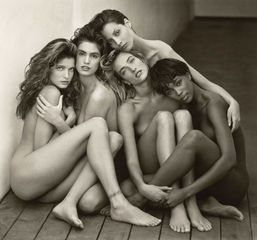 Stephanie, Cindy, Christy, Tatjana, Naomi, Hollywood; Herb Ritts (American, 1952 - 2002); Hollywood, California, United States; 1989; Gelatin silver print; 46.8 × 50.3 cm (18 7/16 × 19 13/16 in.); 2011.18.28; The J. Paul Getty Museum, Los Angeles, Gift of Herb Ritts Foundation; Rights Statement: In Copyright; Copyright: © Herb Ritts Foundation