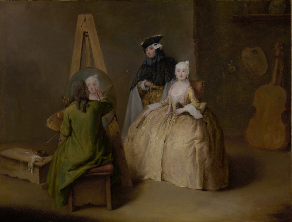 The Painter in His Studio; Pietro Longhi (Italian, 1701 - 1785); Italy; about 1741–1744; Oil on canvas; 41 × 53.3 cm (16 1/8 × 21 in.); 2011.20; The J. Paul Getty Museum, Los Angeles, Purchased in part with funds realized from the sale of paintings donated by Burton Fredericksen and William Garred.; Rights Statement: No Copyright - United States