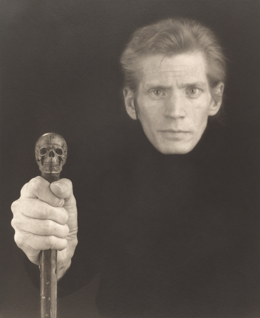 Self-Portrait; Robert Mapplethorpe (American, 1946 - 1989); New York, New York, United States; 1988; Platinum print; 58.7 × 48.3 cm (23 1/8 × 19 in.); 2011.9.25; Jointly acquired by the J. Paul Getty Trust and the Los Angeles County Museum of Art; partial gift of The Robert Mapplethorpe Foundation; partial purchase with funds provided by the J. Paul Getty Trust and the David Geffen Foundation; Rights Statement: In Copyright; Copyright: © Robert Mapplethorpe Foundation