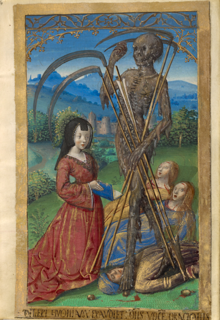 Poncher Hours; Master of the Chronique scandaleuse (French, active about 1493 - 1510), Jean Pichore (French, died 1521, active about 1490 - 1521), Master of Cardinal Bourbon (French, about 1480 - 1500), Master of Jacques de Besançon (French, active about 1480 - 1500); about 1500; Tempera colors, gold, and ink on parchment; 19th century gold-tooled red leather binding with traces of clasps; Closed: 13.8 × 9.8 × 5 cm (5 7/16 × 3 7/8 × 1 15/16 in.); Ms. 109 (2011.40); Rights Statement: No Copyright - United States