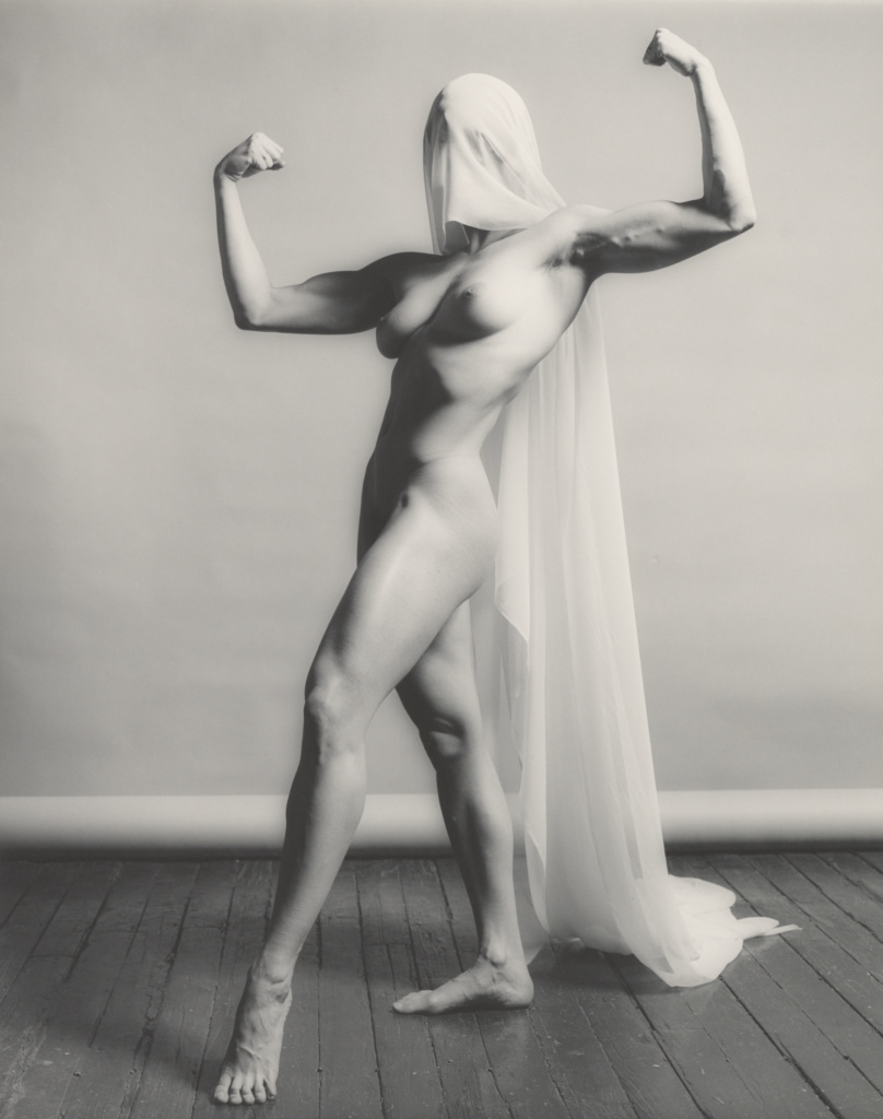 Lisa Lyon; Robert Mapplethorpe (American, 1946 - 1989); negative 1982; print 1990; Gelatin silver print; 48.6 × 38.2 cm (19 1/8 × 15 1/16 in.); 2016.57.686; Gift of The Robert Mapplethorpe Foundation to the J. Paul Getty Trust and the Los Angeles County Museum of Art; Rights Statement: In Copyright; Copyright: © Robert Mapplethorpe Foundation