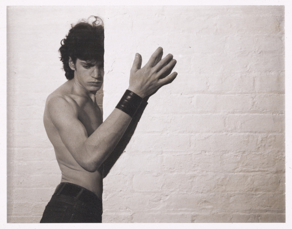 Untitled (Self-Portrait); Robert Mapplethorpe (American, 1946 - 1989); about 1974; Polaroid diffusion print; 8.9 × 11.4 cm (3 1/2 × 4 1/2 in.); 2012.20.1.38; Gift of The Robert Mapplethorpe Foundation to The J. Paul Getty Trust and the Los Angeles County Museum of Art; Rights Statement: In Copyright; Copyright: © Robert Mapplethorpe Foundation