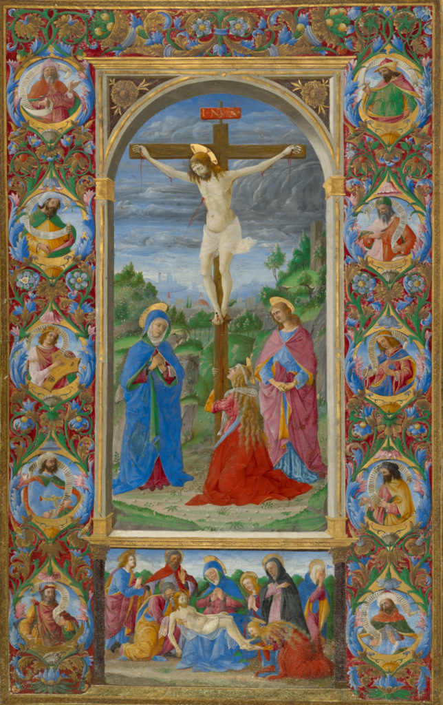 The Crucifixion; Giuliano Amadei (Italian, active 1446 - died 1496); Rome, Italy; 1484–1492; Tempera colors and gold on parchment; Leaf: 39.7 × 24.1 cm (15 5/8 × 9 1/2 in.); Ms. 110 (2012.2), recto; The J. Paul Getty Museum, Los Angeles, Ms. 110, recto; Rights Statement: No Copyright - United States
