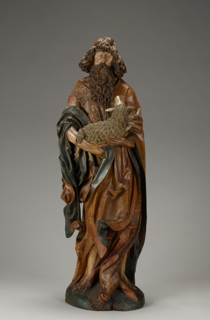 St. John the Baptist; Master of the Harburger Altar (German, active about 1500 - 1515); Germany; about 1515; Partially polychromed limewood; 152.1 × 49 × 30 cm (59 7/8 × 19 5/16 × 11 13/16 in.); 2012.1; The J. Paul Getty Museum, Los Angeles; Rights Statement: No Copyright - United States