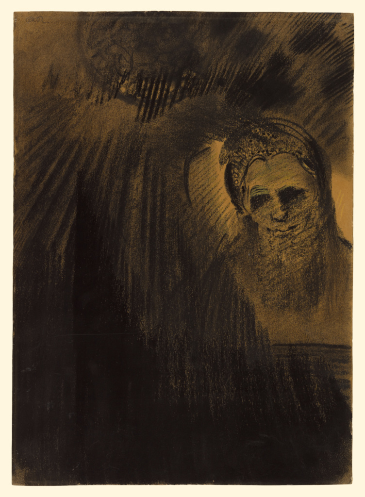 Apparition; Odilon Redon (French, 1840 - 1916); about 1880–1890; Charcoal, powdered charcoal, and yellow pastel, with stumping on brown wove paper, fixed from the recto and verso; 52.5 × 37.3 cm (20 11/16 × 14 11/16 in.); 2013.38; Rights Statement: No Copyright - United States