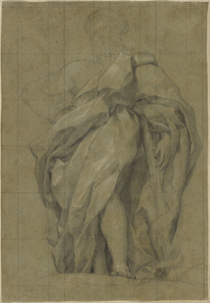 Asclepius (recto); Study of a Male Youth Bearing Some Leaves (verso); Anton Raphael Mengs (German, 1728 - 1779); Spain; about 1762; Black chalk with white chalk heightening on blue green paper; squared for transfer; 32.7 × 22.5 cm (12 7/8 × 8 7/8 in.); 2013.42; The J. Paul Getty Museum, Los Angeles; Rights Statement: No Copyright - United States