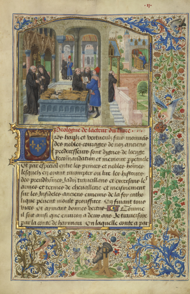 The Author Hearing the Story of Gillion de Trazegnies; Lieven van Lathem (Flemish, about 1430 - 1493), David Aubert (Flemish, active 1453 - 1479); Belgium; 1464; Tempera colors, gold, and ink on parchment; Ms. 111 (2013.46), fol. 9v; The J. Paul Getty Museum, Los Angeles, Ms. 111, fol. 9v; Rights Statement: No Copyright - United States