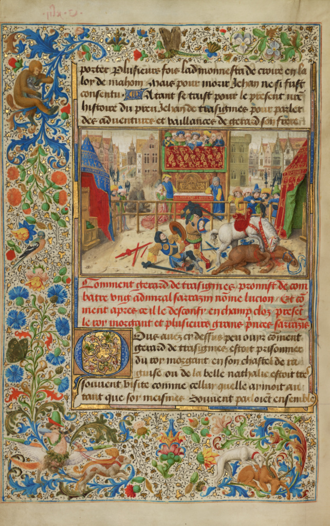 A Judicial Duel Between Gillion's Son Gerard and the Emir Lucion; Lieven van Lathem (Flemish, about 1430 - 1493), David Aubert (Flemish, active 1453 - 1479); Antwerp, Belgium; 1464; Tempera colors, gold, and ink on parchment; Leaf: 37 × 25.5 cm (14 9/16 × 10 1/16 in.); Ms. 111 (2013.46), fol. 134v; The J. Paul Getty Museum, Los Angeles, Ms. 111, fol. 134v; Rights Statement: No Copyright - United States