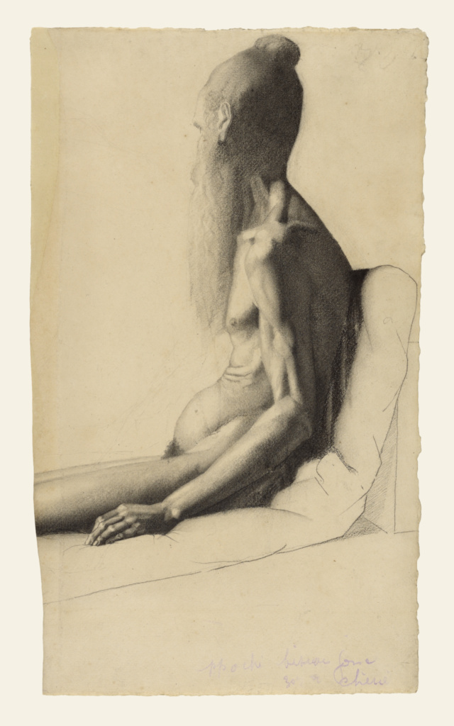 Nude Study of an Old Man; Georges Seurat (French, 1859 - 1891); about 1878–1879; Powdered vine charcoal and charcoal with stumping and lifting on laid paper; 48.4 × 28.5 cm (19 1/16 × 11 1/4 in.); 2014.11; Rights Statement: No Copyright - United States