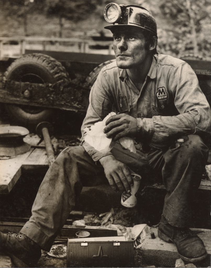 Deep Pit Coal Miner Eating Lunch, Lookout, KY; Arthur Tress (American, born 1940); Lookout, Kentucky, United States; 1968; Gelatin silver print; 24.2 × 19.1 cm (9 1/2 × 7 1/2 in.); 2018.114.26; The J. Paul Getty Museum, Los Angeles, Gift of the Ottersons; Rights Statement: In Copyright; Copyright: © Arthur Tress