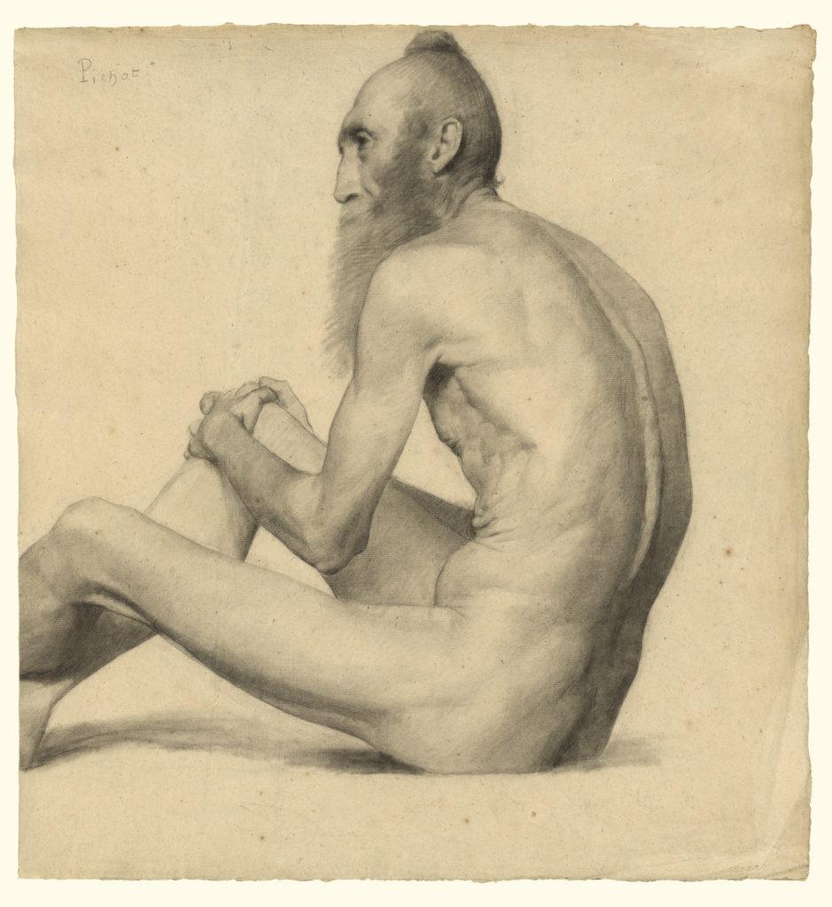 Nude Study of an Old Man; Émile-Jules Pichot (French, 1857 - 1936); about 1878–1879; Charcoal and powdered vine charcoal with stumping and lifting on laid paper; 46.5 × 43 cm (18 5/16 × 16 15/16 in.); 2016.81; Gift of David Leventhal in honor of Lee Hendrix; Rights Statement: No Copyright - United States