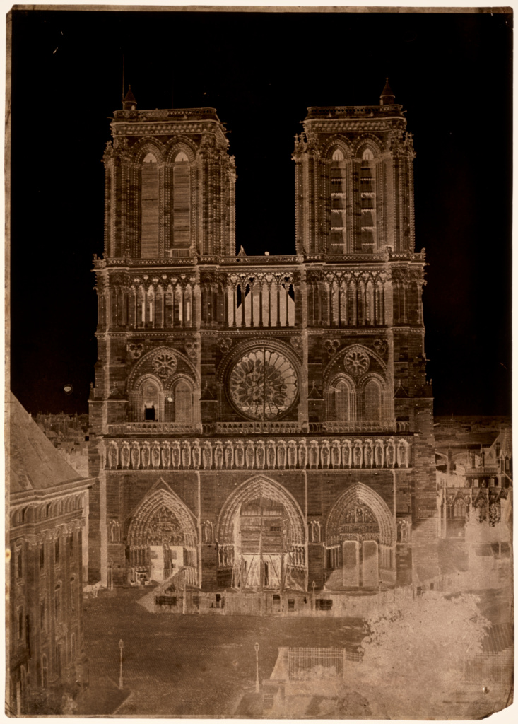 Notre-Dame, Paris; Charles Nègre (French, 1820 - 1880); Paris, France; about 1853; Waxed paper negative and salted paper print; 33.6 × 24 cm (13 1/4 × 9 7/16 in.); 2015.43.1; The J. Paul Getty Museum, Los Angeles; Rights Statement: No Copyright - United States
