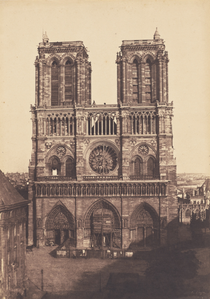 Notre-Dame, Paris; Charles Nègre (French, 1820 - 1880); Paris, France; about 1853; Salted paper print from a waxed paper negative; 32.8 × 23.1 cm (12 15/16 × 9 1/8 in.); 2015.43.2; The J. Paul Getty Museum, Los Angeles; Rights Statement: No Copyright - United States