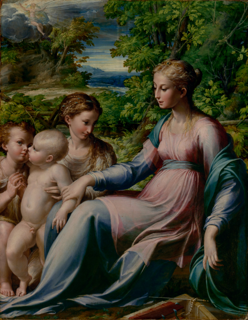Virgin and Child with Saint John the Baptist and Mary Magdalene; Parmigianino (Francesco Mazzola) (Italian, 1503 - 1540); about 1535–1540; Oil on paper, laid down on panel; 75.9 × 59.7 × 3 cm (29 7/8 × 23 1/2 × 1 3/16 in.); 2017.22; Rights Statement: No Copyright - United States