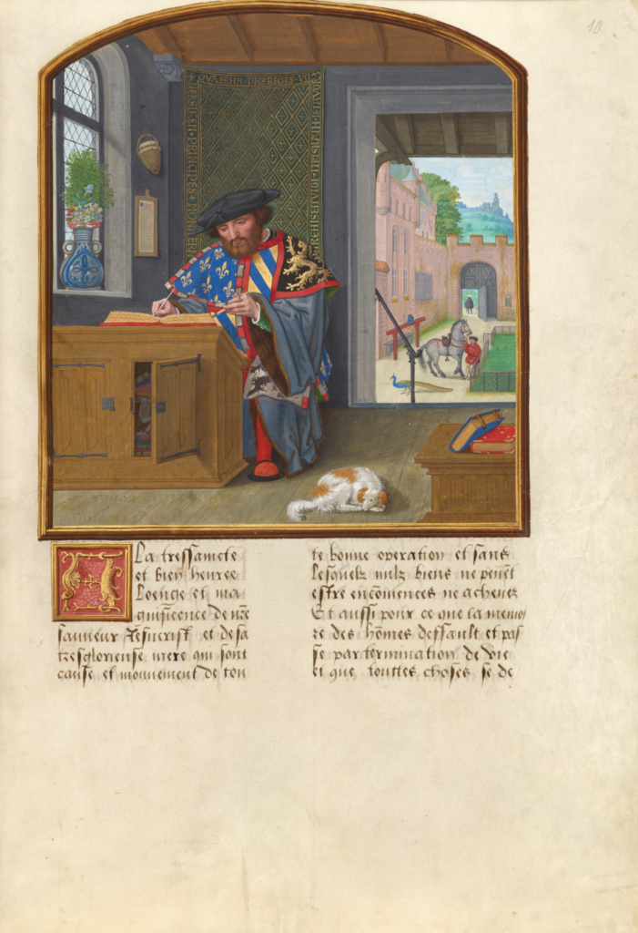 The King of Arms of the Order of the Golden Fleece Writing about Jacques de Lalaing; Simon Bening (Flemish, about 1483 - 1561); Flanders, Belgium; about 1530; Tempera colors, gold leaf, gold paint, and ink; Leaf: 36.4 × 26.2 cm (14 5/16 × 10 5/16 in.); Ms. 114 (2016.7), fol. 10; The J. Paul Getty Museum, Los Angeles, Acquired in honor of Thomas Kren, Ms. 114, fol. 10; Rights Statement: No Copyright - United States